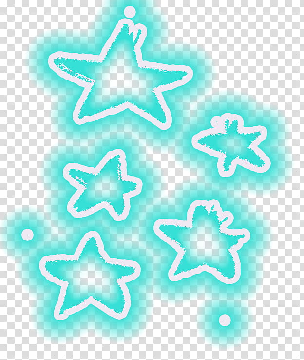 Estrellas de colores, five green stars illustration transparent.