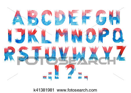 Colorful watercolor aquarelle font type handwritten hand draw abc alphabet  letters Clip Art.