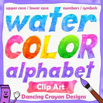 Alphabet Letters Clip Art: Watercolor.