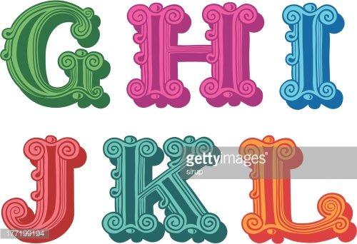 Doodle of colorful Antiqua alphabet letters Clipart Image.