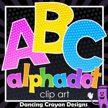 Alphadots! Colorful Alphabet Letters Clip Art.