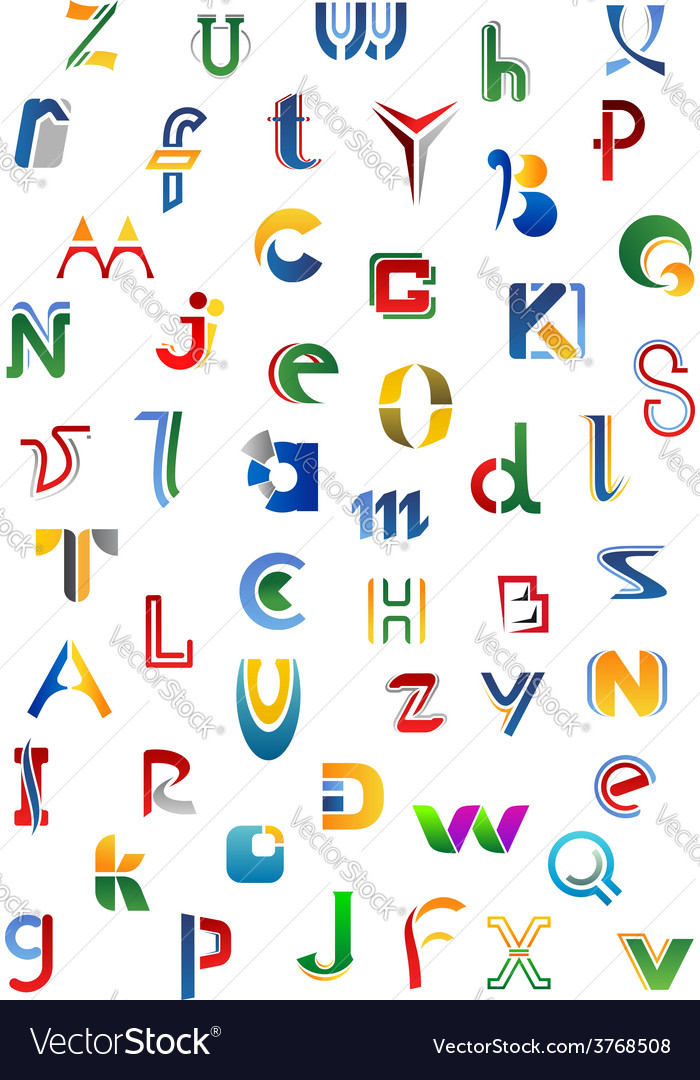 Colorful alphabet letters and fonts.