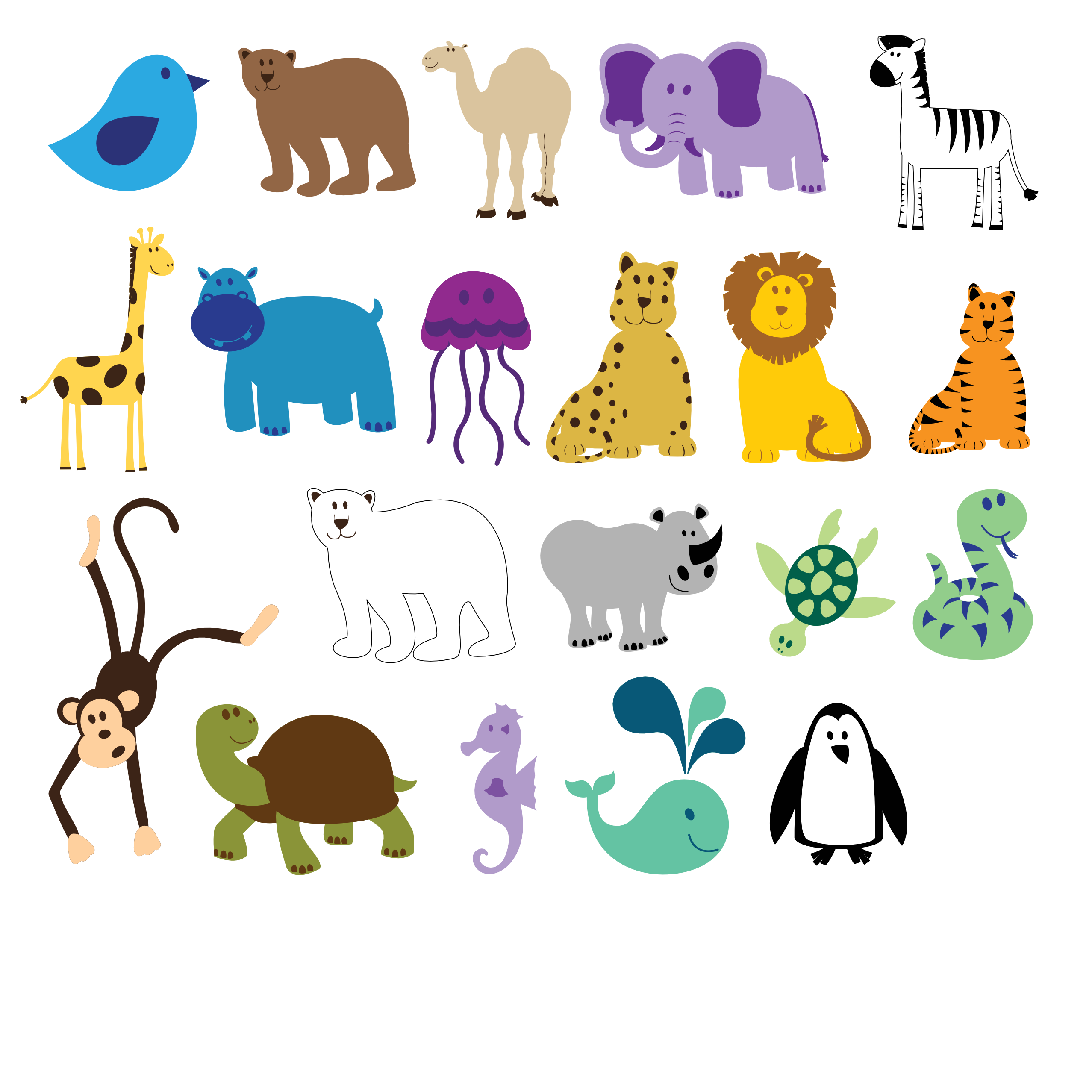 Colorful animal clipart.