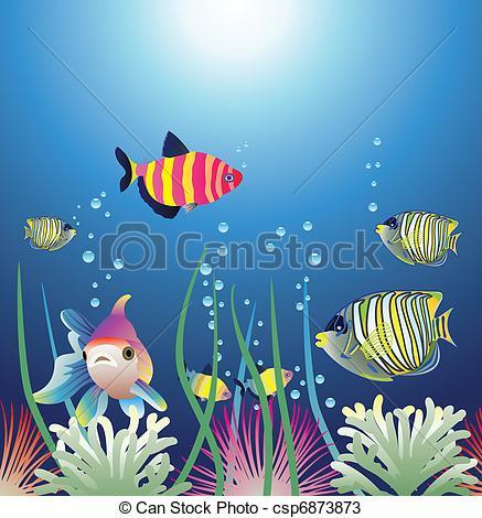 Vectors of aquarium and colorful fishes.