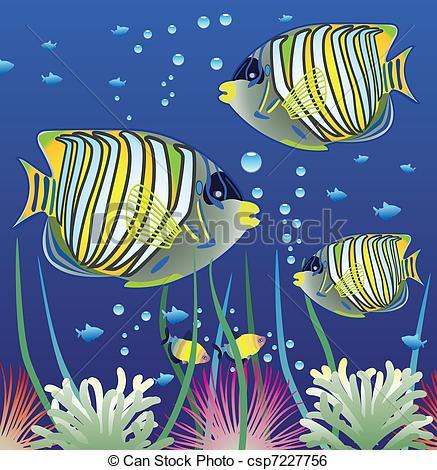Clip Art Vector of aquarium and colorful fishes.