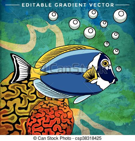 Vector Illustration of Colorful Aquarium Fish.