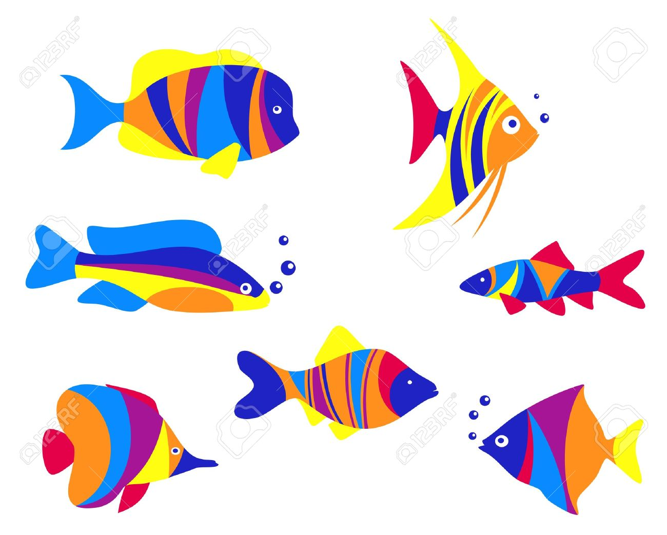 Abstract Colorful Aquarium Fishes Set Isolated On White Background.