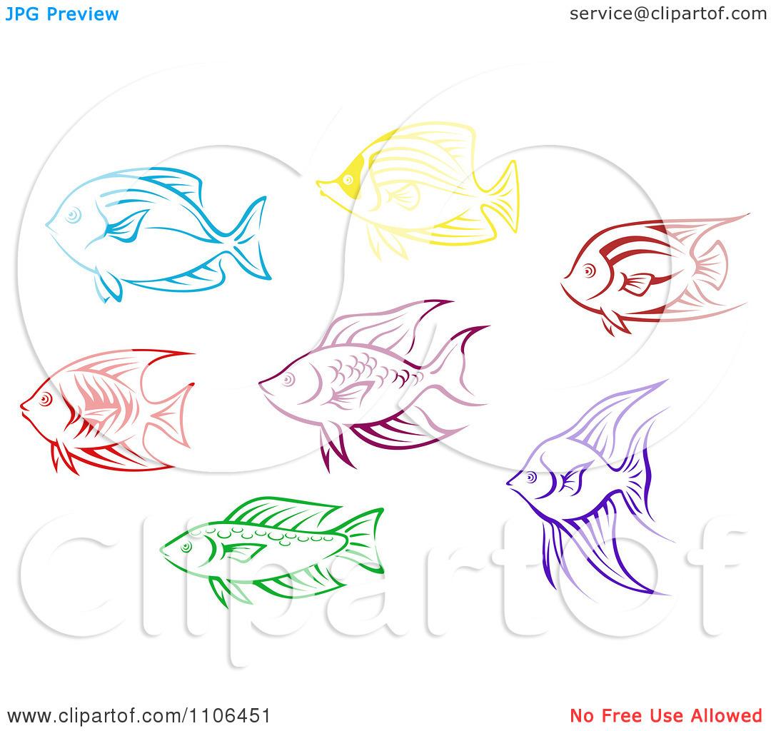 Clipart Colorful Aquarium Fish Icons.