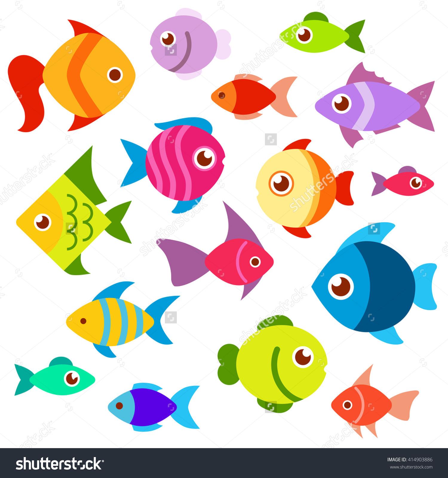Set Colorful Aquarium Fish Fish Flat Stock Vector 414903886.