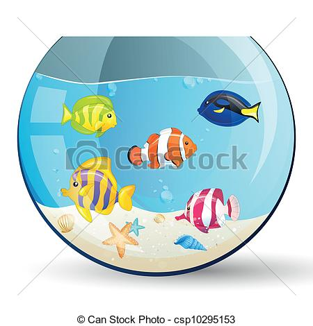 Clipart Vector of Vector aquarium with colorful fishes.