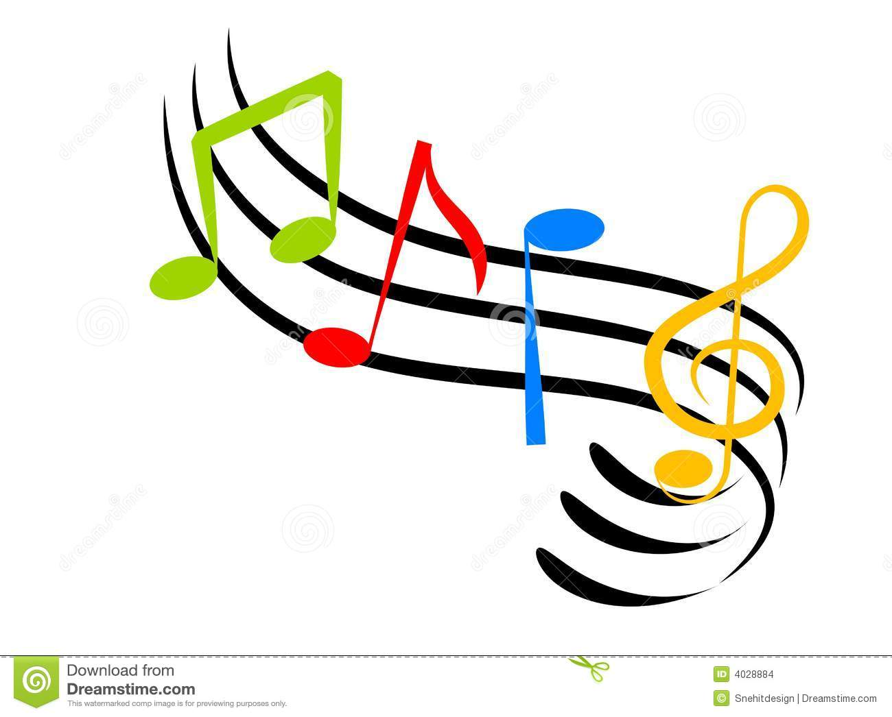 Colorful music note clip art.