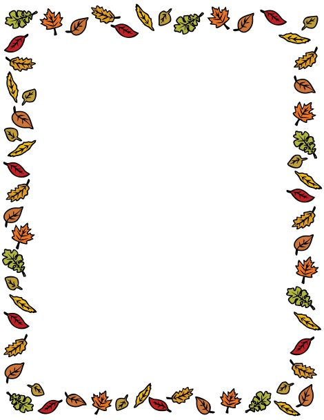 A border featuring colorful autumn leaves around the page. Free.