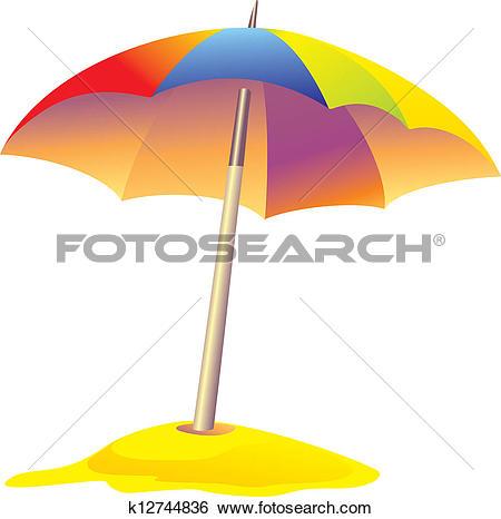 Clip Art of colored beach umbrella k12744836.
