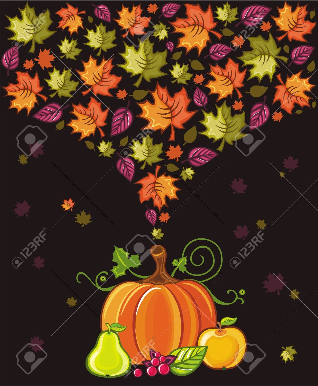 Thanksgiving Design: Colorful Leaves Flying Around Pumpkin,pear.