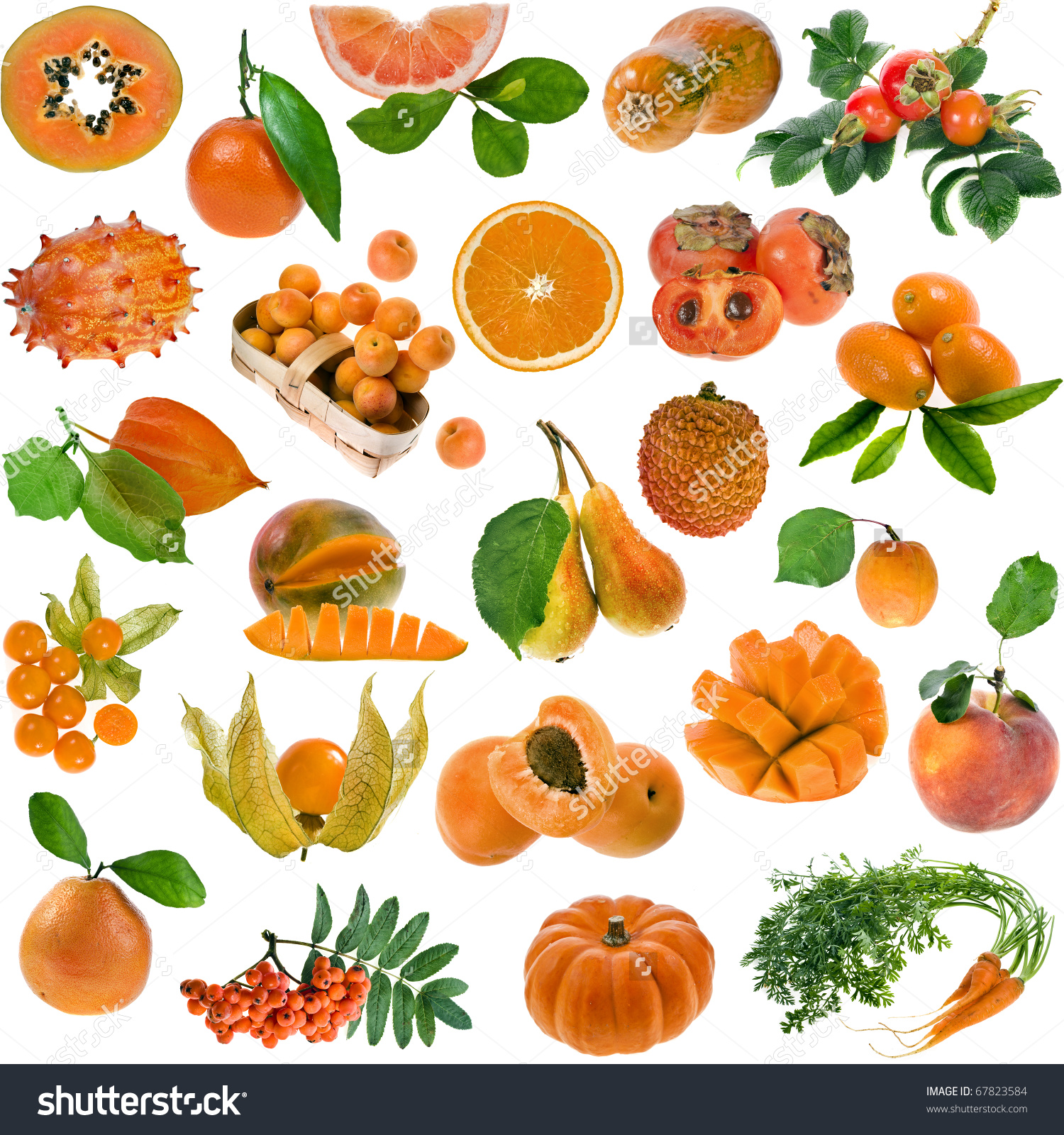 Collection Set All Orange Color Berries Stock Photo 67823584.