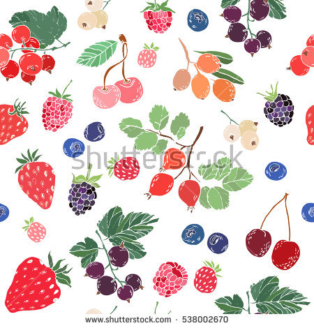 Seamless Pattern Colorful Berries Vector Stock Vector 538002670.