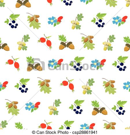 EPS Vector of Vector Colorful Autumn Berries Nuts Seamless Pattern.