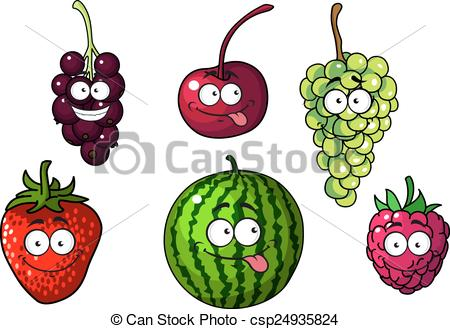 Vector Illustration of Cute happy colorful cartoon fruits and.