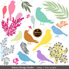 Colorful Birds, Leaves and Berries Clip Art scrapbooking, ….