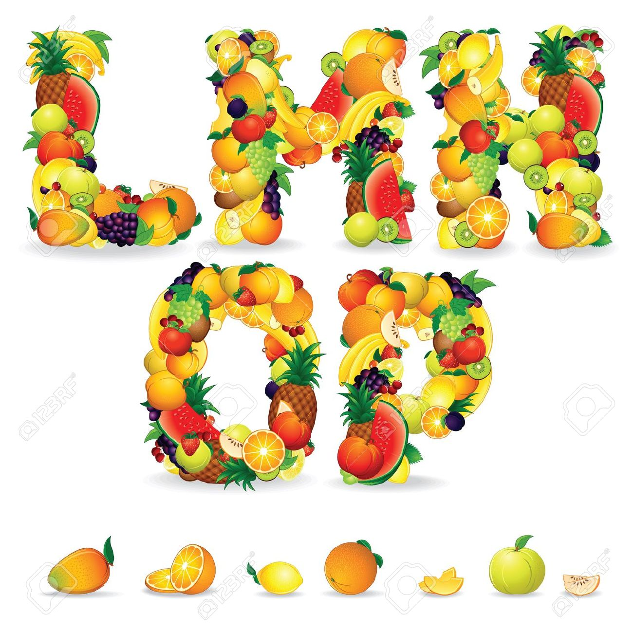 Colorful Letters From Fruit And Berries Clip Art Stock Photo.