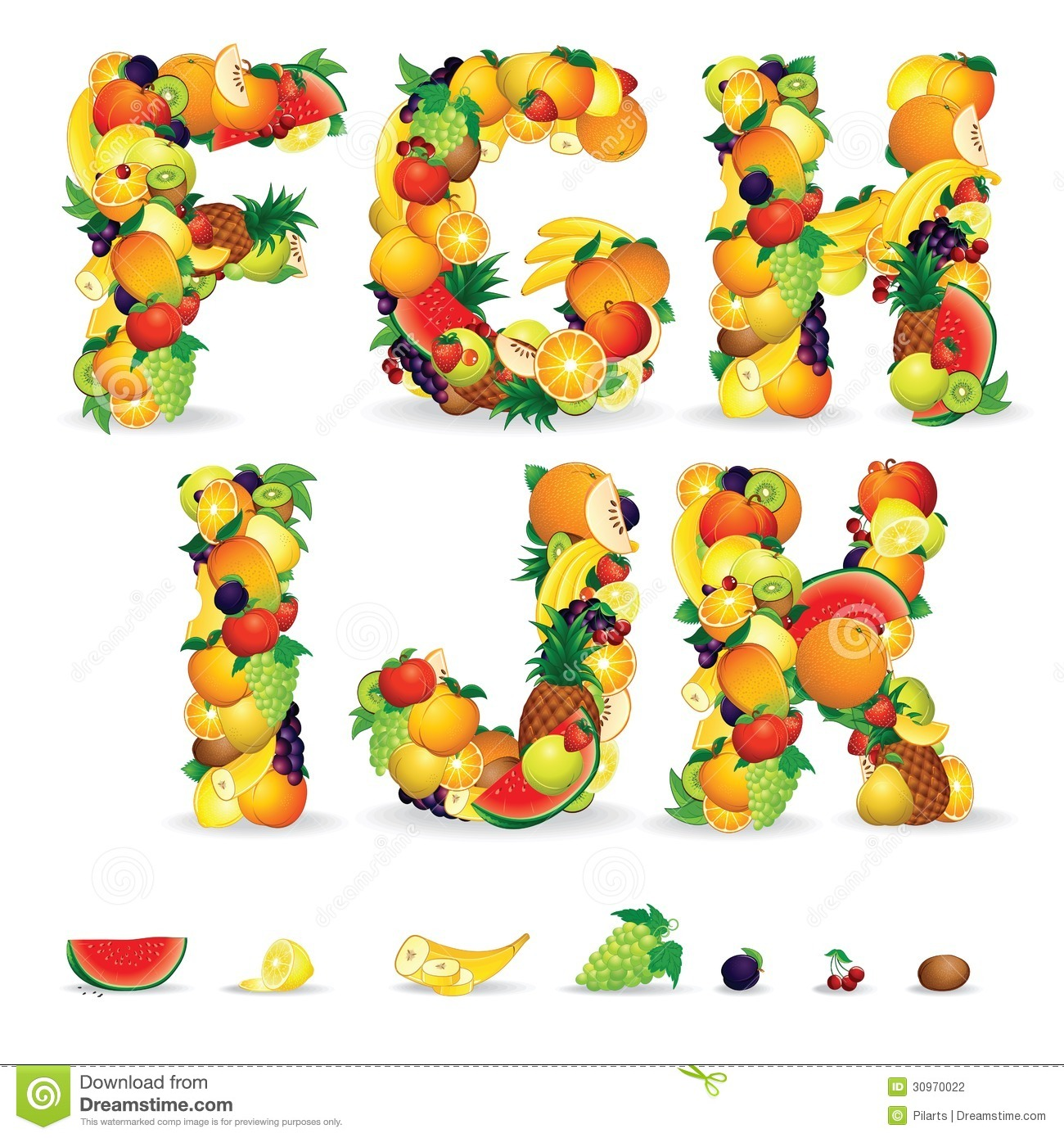 Colorful Letters From Fruit And Berries. Clip Art Stock Photo.
