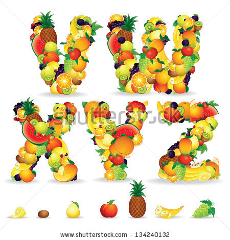 Colorful Letters Fruit Berries Vector Clip Stock Vector 132558446.