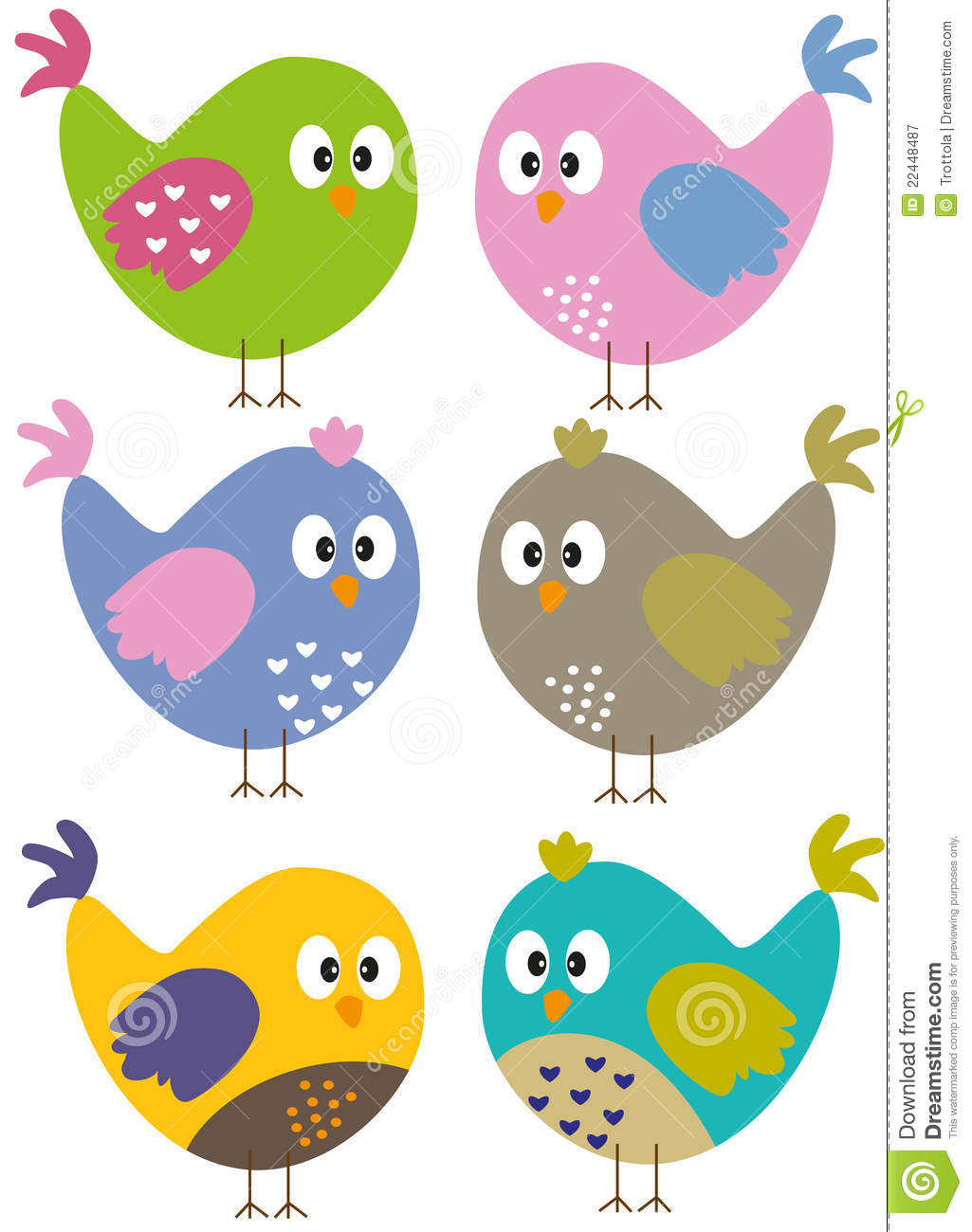 Colorful birds clipart.