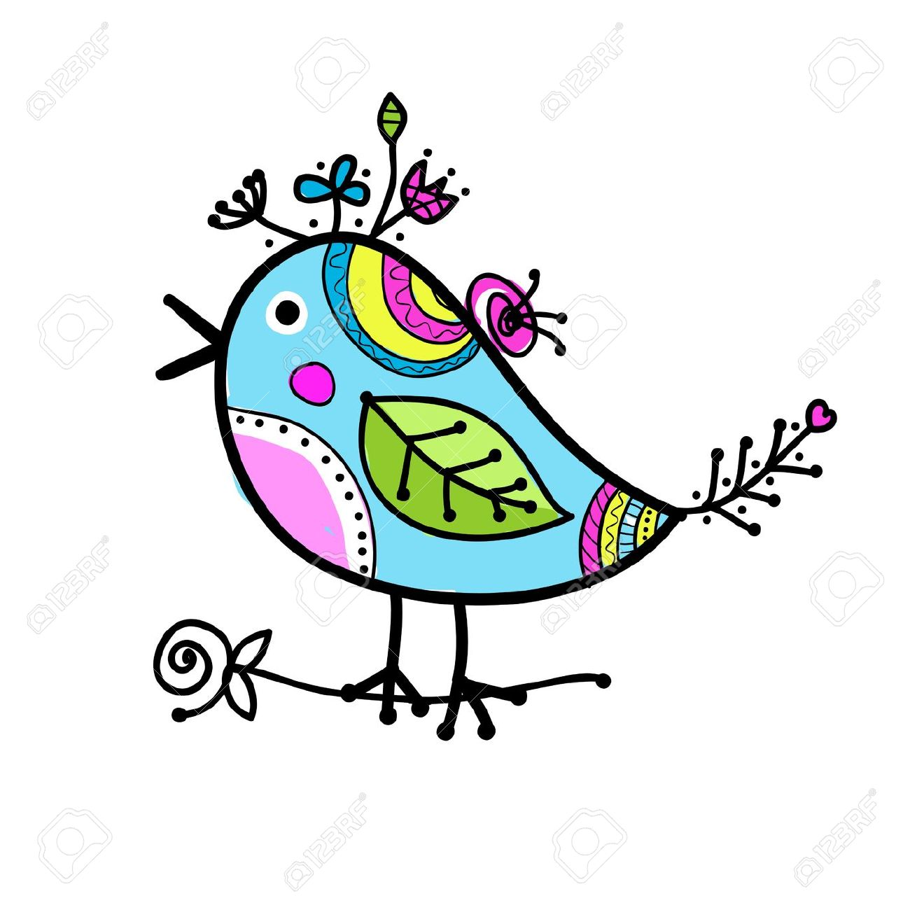 sketch of funny colorful bird for your design royalty free