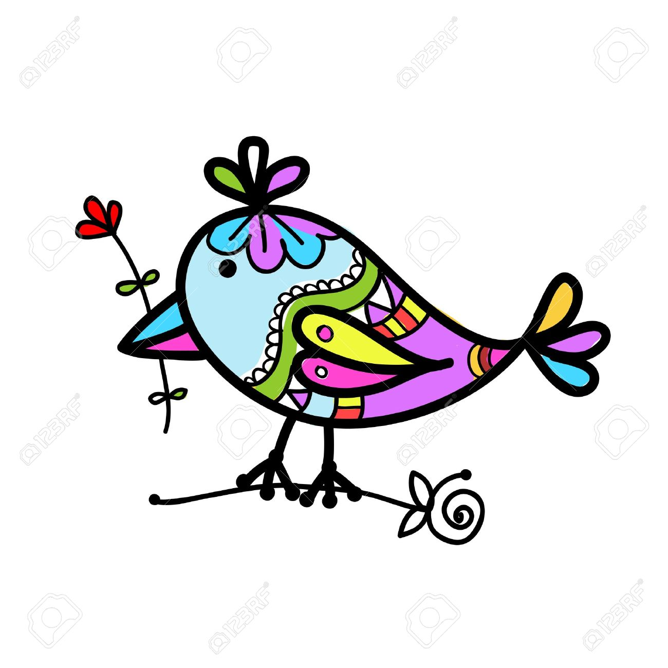 Colorful bird clipart.