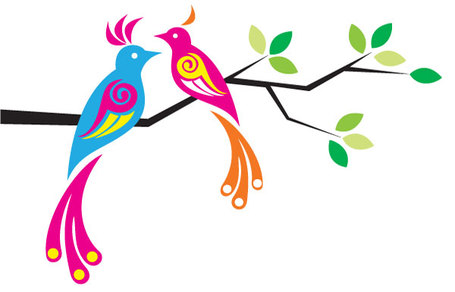 Colorful Birds, Clipart.