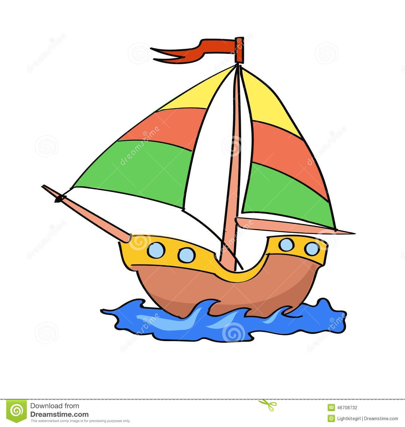 Boat Cartoon Colorful On A White Background Stock Vector.