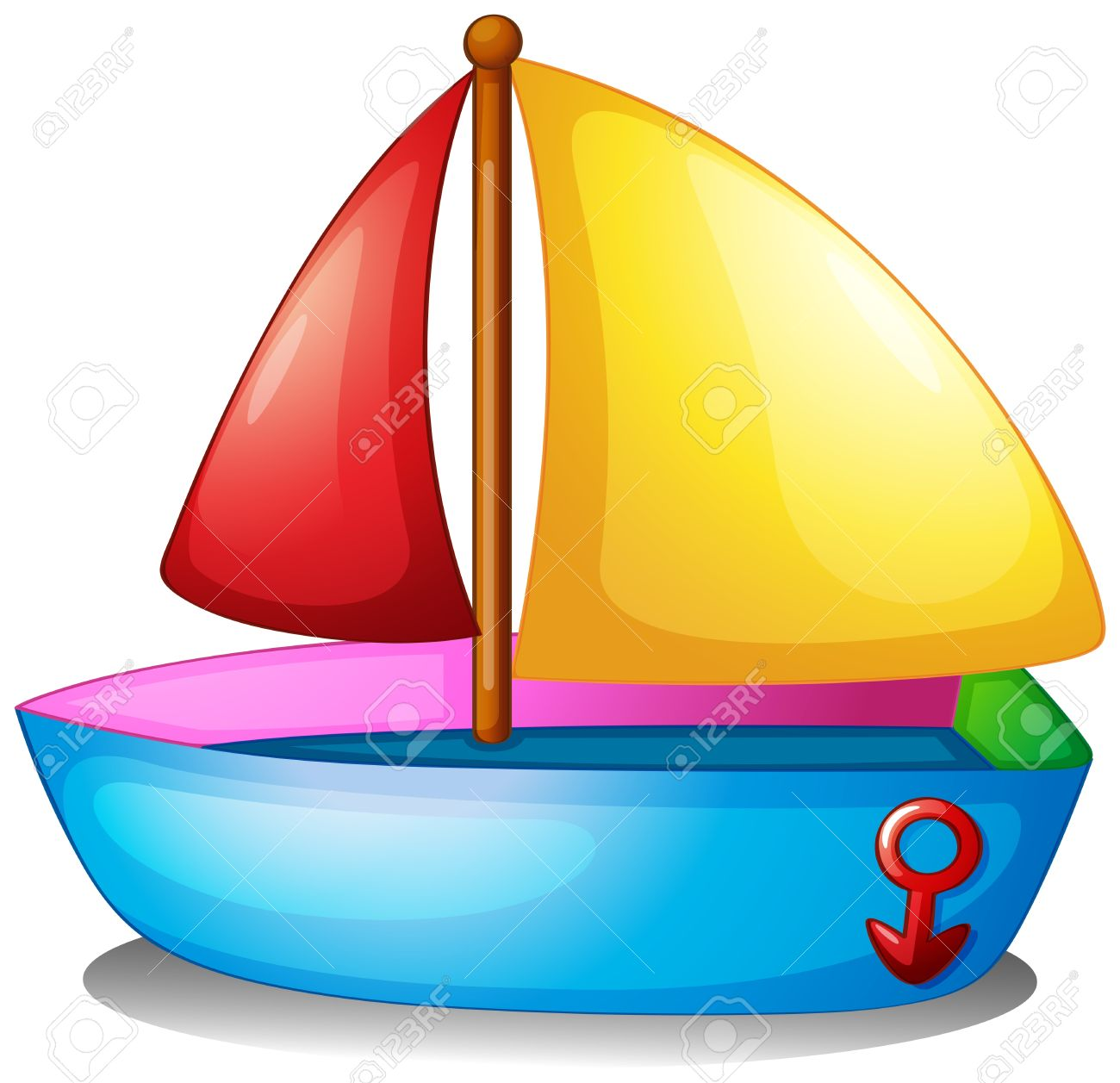 Illustration Of A Colorful Boat On A White Background Royalty Free.