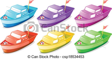 Clipart Vector of Six colorful boats.