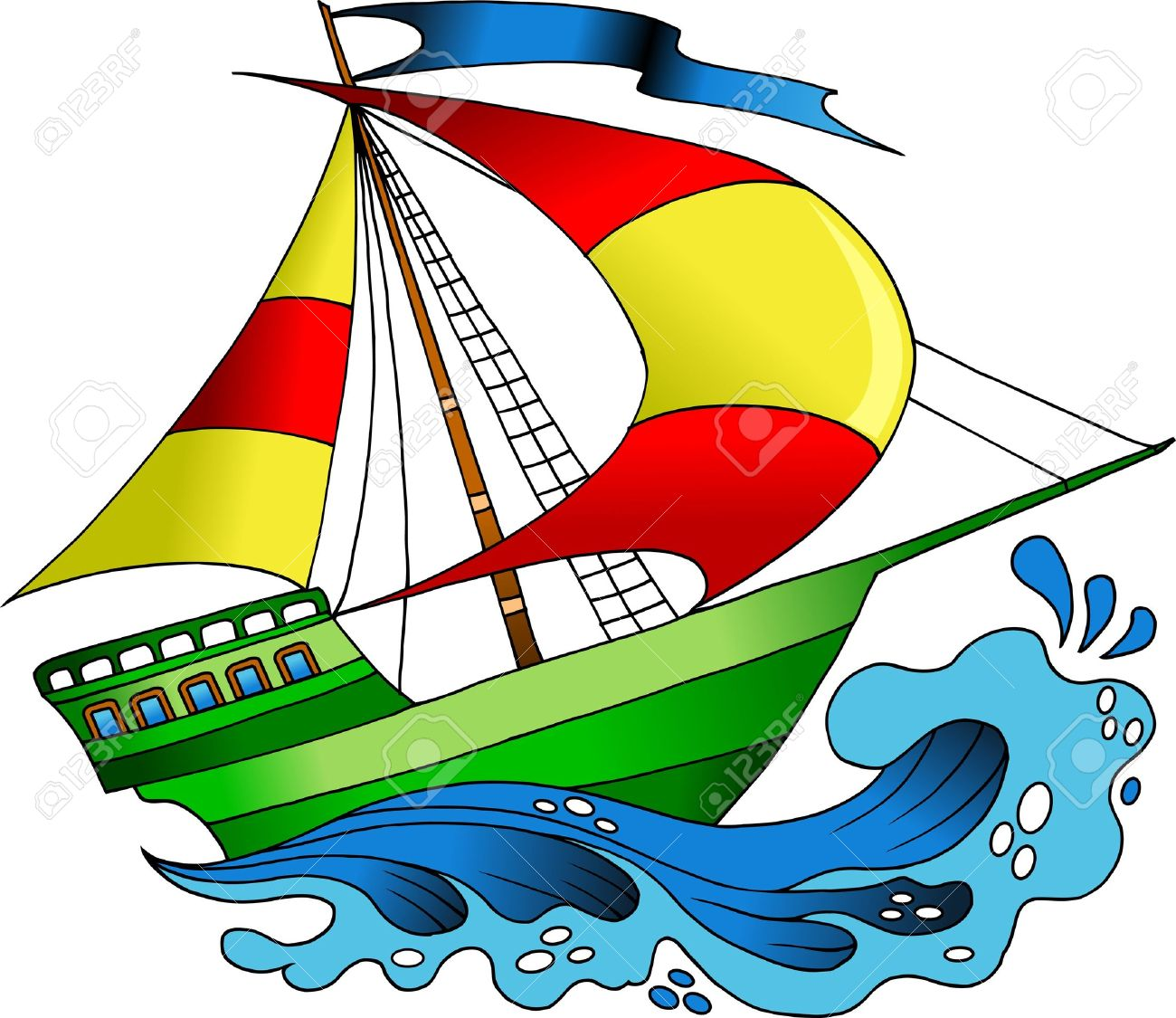 Beautiful, Colorful Boats On The Sea Wave Illustration, Royalty.