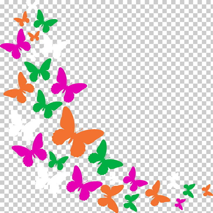 Butterfly Phonograph record, Colorful butterfly PNG clipart.