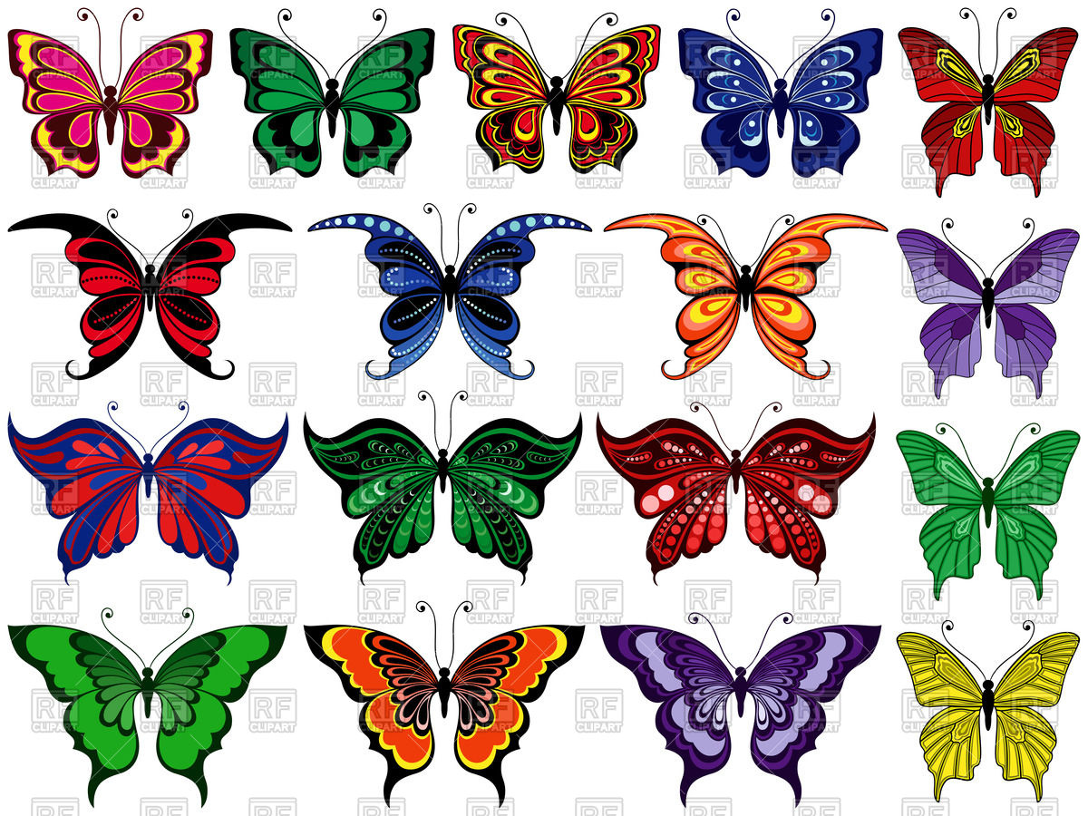 Set of colorful ornamental butterflies Stock Vector Image.
