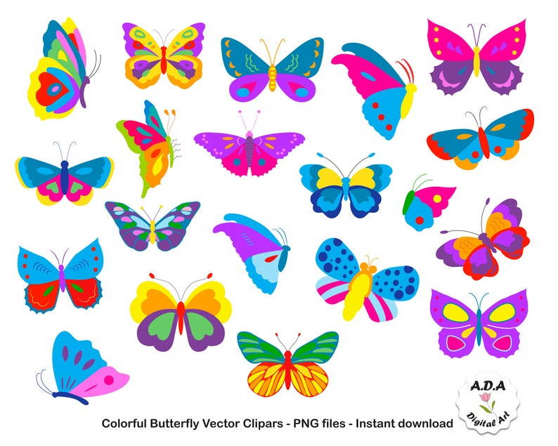 Colorful Butterflies Clipart, Butterfly Clip Art, Butterfly vector clipart,  Scrapbooking cute clipart, Commercial Use.