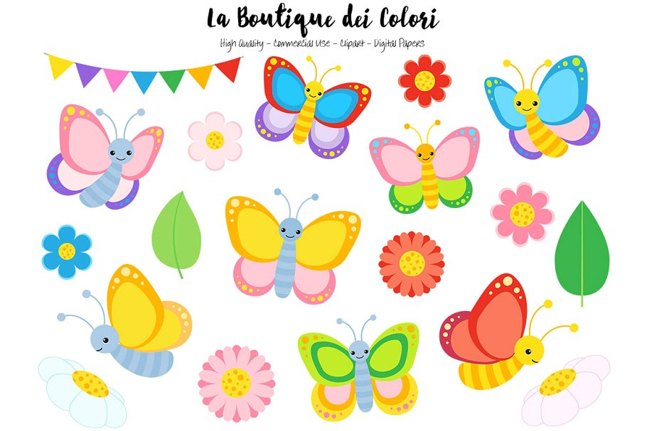 Colorful Butterfly Clipart.