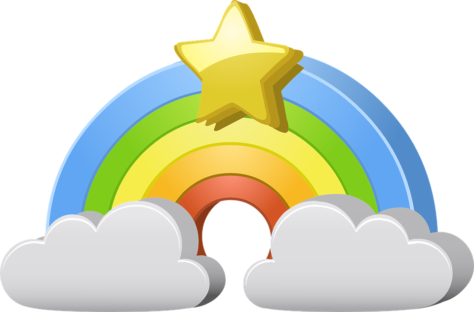 Free vector graphic: Rainbow, Star, Clouds, Weather.