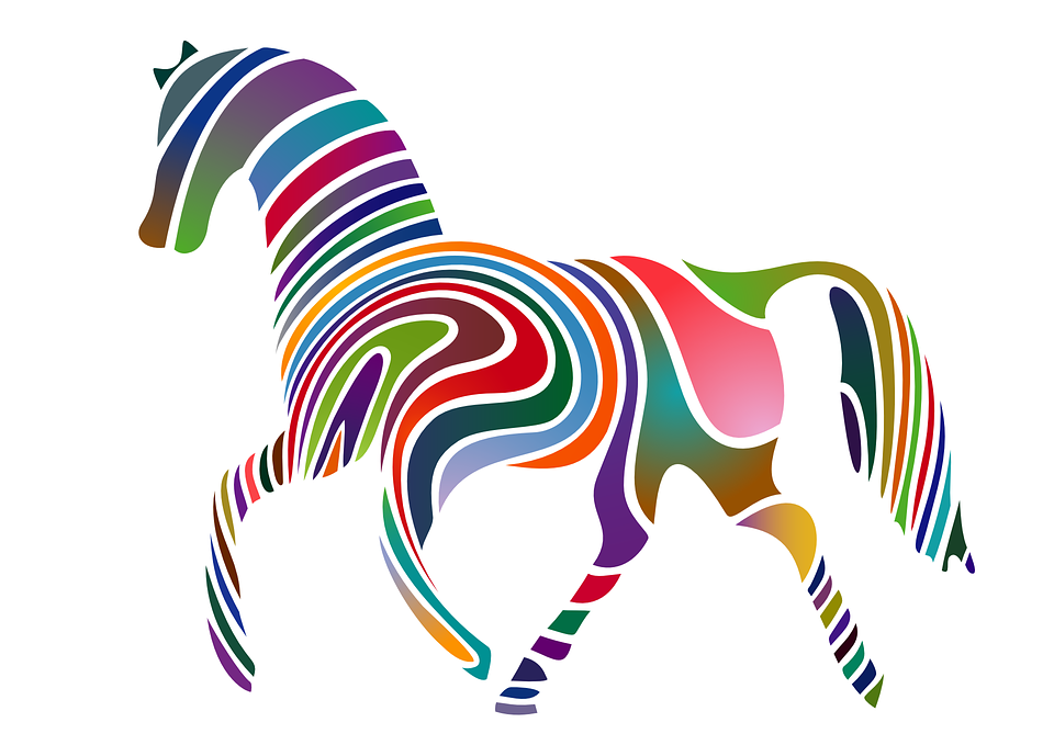 Free vector graphic: Horse, Rainbow Colors, Colorful.