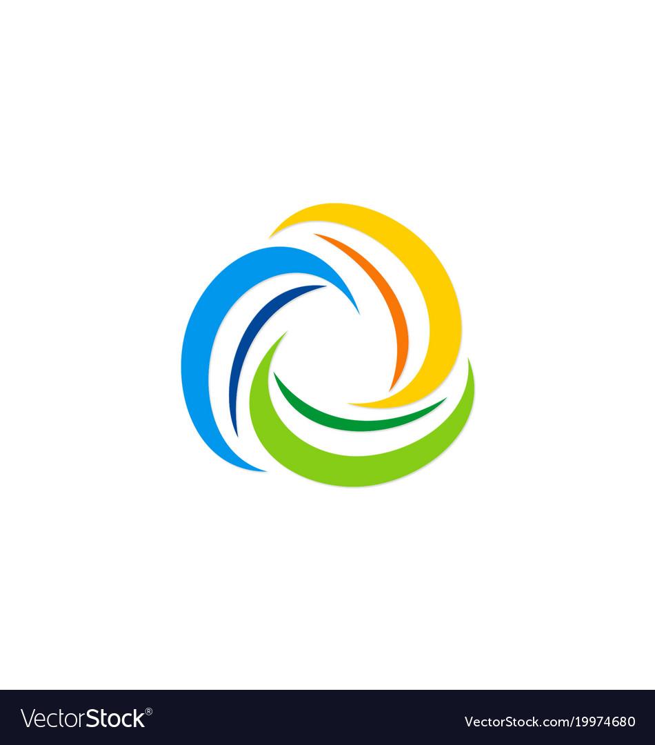 Circle swirl colorful motion logo.