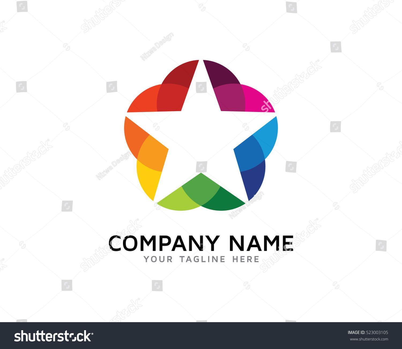 Colorful Circle Star Logo Design Template.