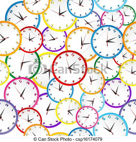 Seamless pattern with colorful clocks.