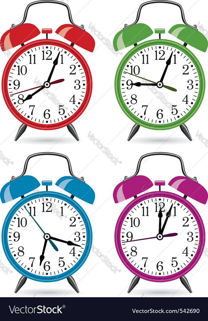 Set of colorful retro alarm clocks.