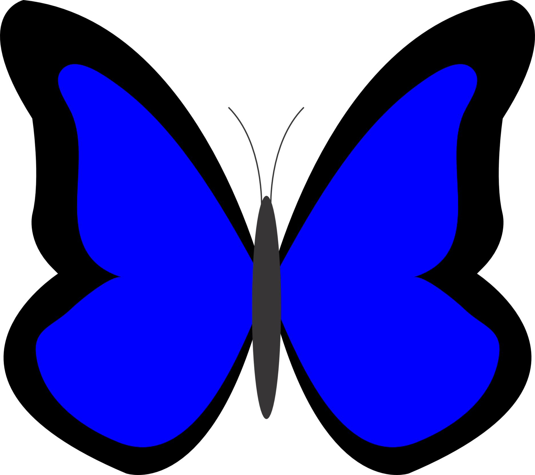 Colorful butterfly blue clipart.