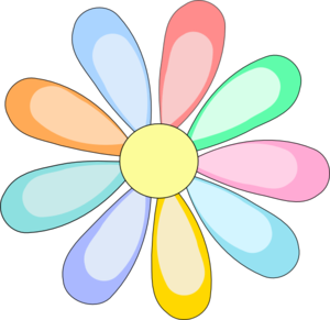 Colorful Daisy Flower Clip Art.