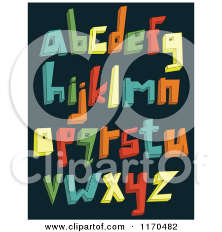 Cartoon of Colorful 3d Lowercase Alphabet Letters on a Dark.