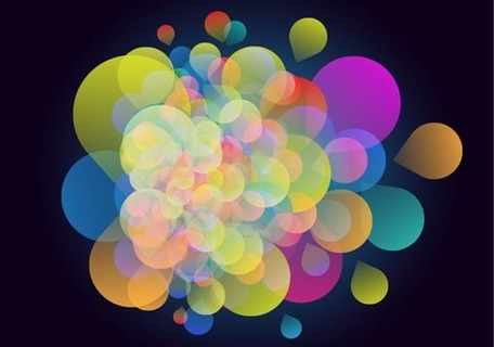 Abstract Colorful Design on Dark Background, Vector.