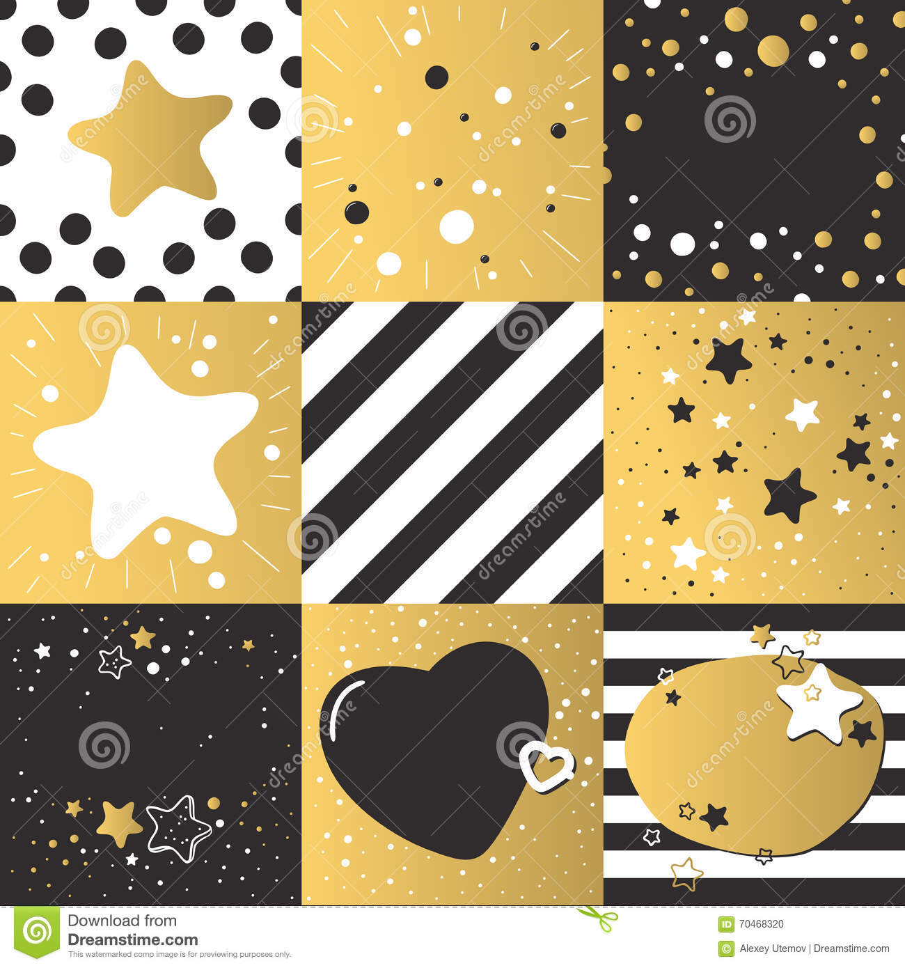 Cute Different Vector Backgrounds Set Patterns Dark Gold Color.