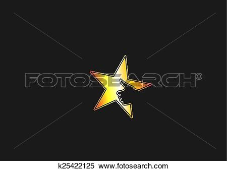 Clipart of bright yellow golden colorful star icon with thumbs up.